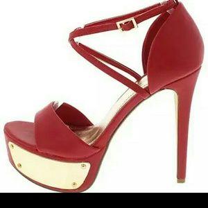 Shoes - Red ankle strap stilleto