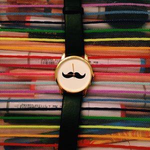 black leather mustache watch!