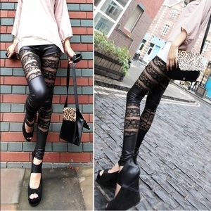 Pants - Lace Leggings Striped black leather pleather