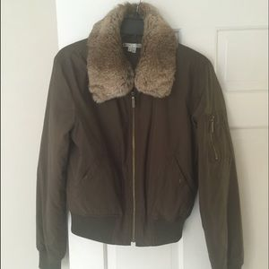 Vince Nylon Bomber Jacket with Fur Trim