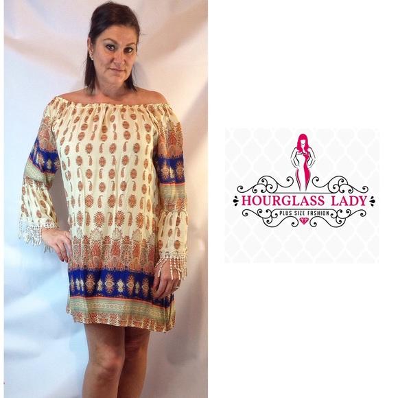 1a69309969b XL🍂Plus Size Boho Brick Moroccan Fringe Dress