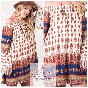 6c2b96169c0 Hourglass Lady Dresses - XL🍂Plus Size Boho Brick Moroccan Fringe Dress