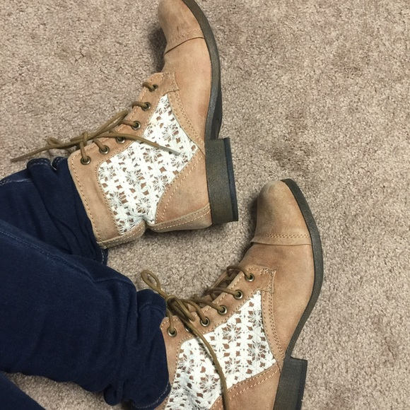 570bb053bd9 Adorable light brown lace boots from Kmart.