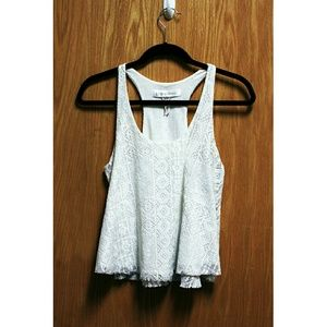 Tops - White Flowy Racer-Back Lace Tank Top