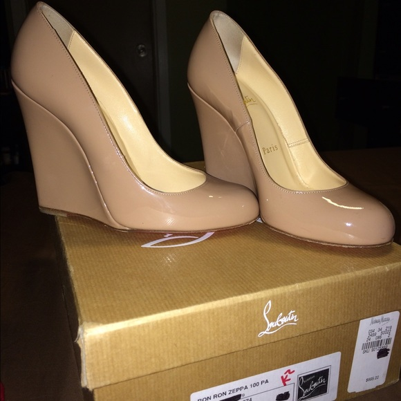 wholesale dealer 8101c 4f2d9 💥sale Christian Louboutin RonRon 100mm nude wedge
