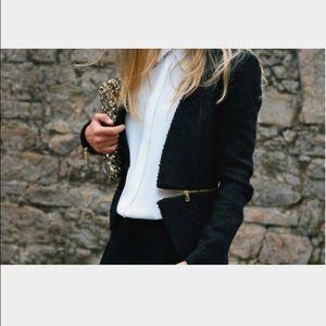 Zara boucle blazer with gold zips Sz XS
