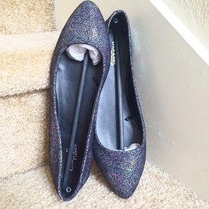 (9 Rainbow Sparkle Pointed Toe Ballerina Flats