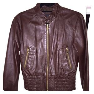Jackets & Blazers - Brown With Gold Zippers Lambskin Leather Jacket