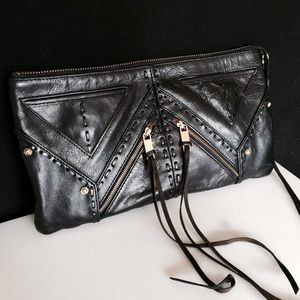 Rebecca Minkoff Black Leather Clutch Gold Zipper