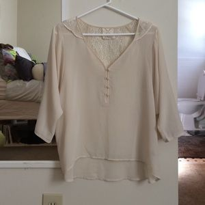 Urban Outfitters sheer cream blouse with lace back
