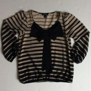 A. Byer Tops - Black and cream striped top with bow detail