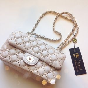 Nude Quilted Studded Bag