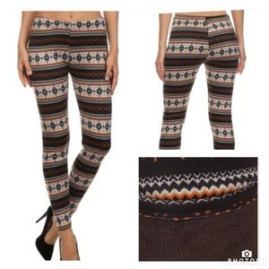 ::Printed fur lined leggings::