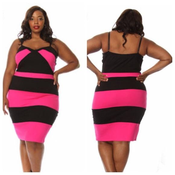 Dresses Pink Black Plus Size Dress Poshmark