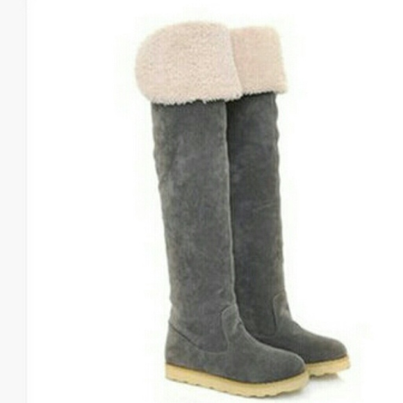 Gray thigh high Ugg style boots