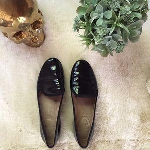 Zara patent leather black loafers