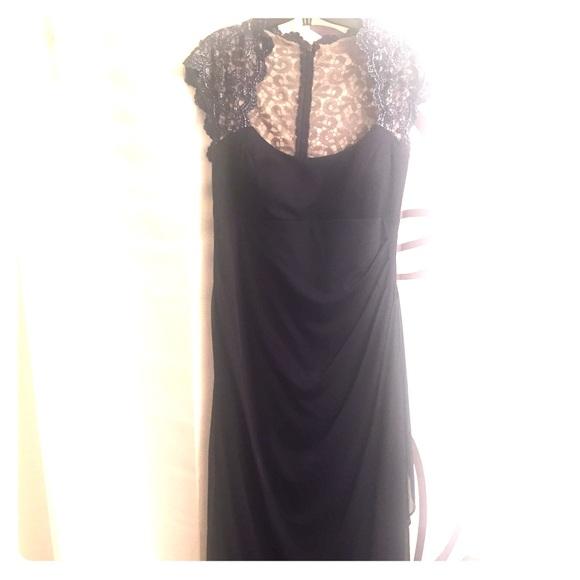 Xscape macys Dresses | Navy Blue Lace Gown | Poshmark