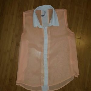 Paper Crane Tops - Orange  sheer sleeveless top