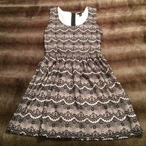 Aqua Cream and Black Lace Dress