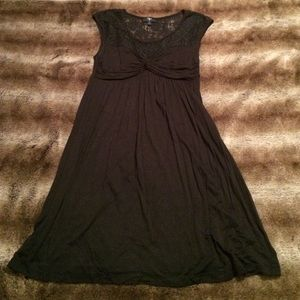 Aqua Black Dress with Lace Detail