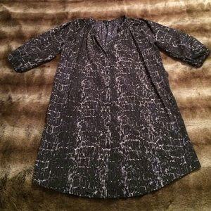 Aqua Purple, Gray & Black Printed Shirt Dress