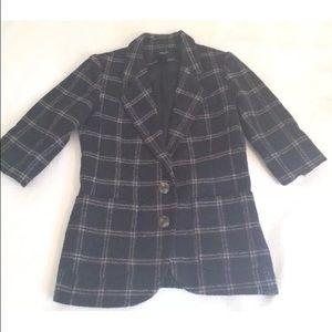 Smythe Jackets & Blazers - SMYTHE Gray Blue Plaid Double Button Blazer EUC
