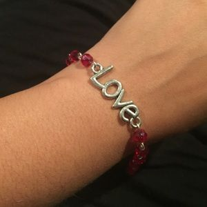 Silver and red love bracelet