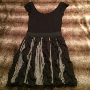 Aqua Black Dress with Mesh Skirt Detail