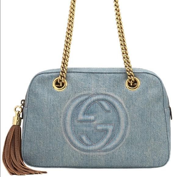 1a23b6702 Gucci Bags | Soho Blue Denim Chain Tasselshoulder Handbag | Poshmark