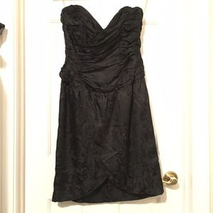 Vintage, black silk strapless cocktail dress