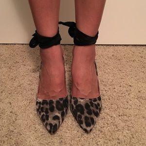 NWOT Lanvin for H&M Leopard Jeweled Pumps