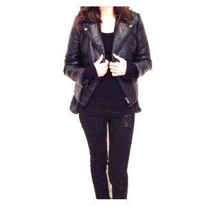 Zara Jackets & Blazers - Black faux leather moto jacket from Zara