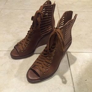 BCBGeneration Peep-Toe Lace-Up Wedge Toffee Boots