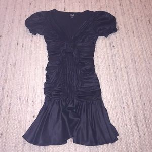 D & G black silk rushed and pleated dress