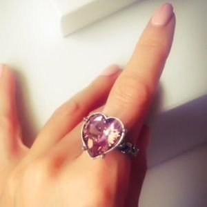 One Love Iced Pink Swarovski Crystal Heart Ring