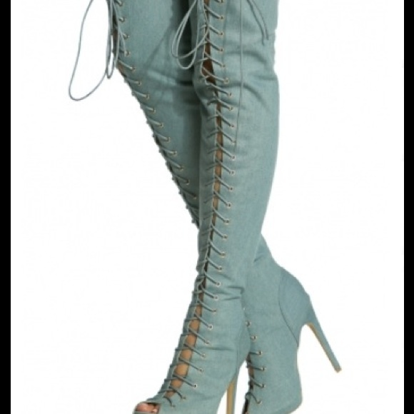 36% off Shoes - Size 11 lace thigh high boots light denim from S's ...