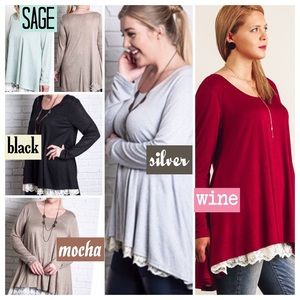 🌺HP 10/16🌺LACE DETAIL KNIT TOP IN FIVE COLORS!