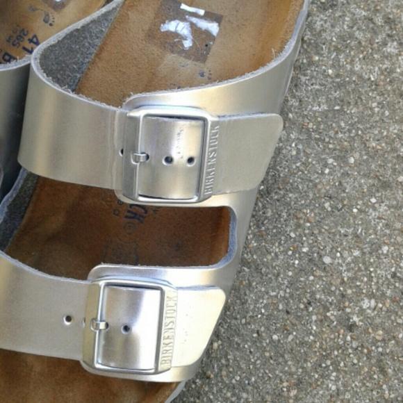 silver birkenstock arizona sale