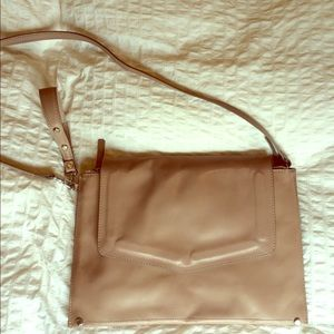 Zara real leather large clutch taupe/gray