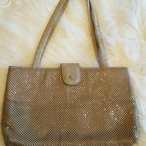 VINTAGE WHITING AND DAVIS LARGE TAUPE MESH TOTE