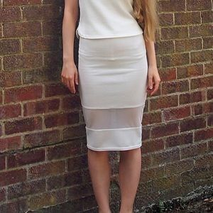 Dresses & Skirts - White Midi Skirt Sheer Panel