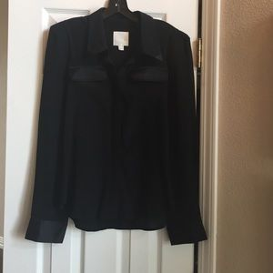 Line & Dot Tops - Beautiful black silk blouse
