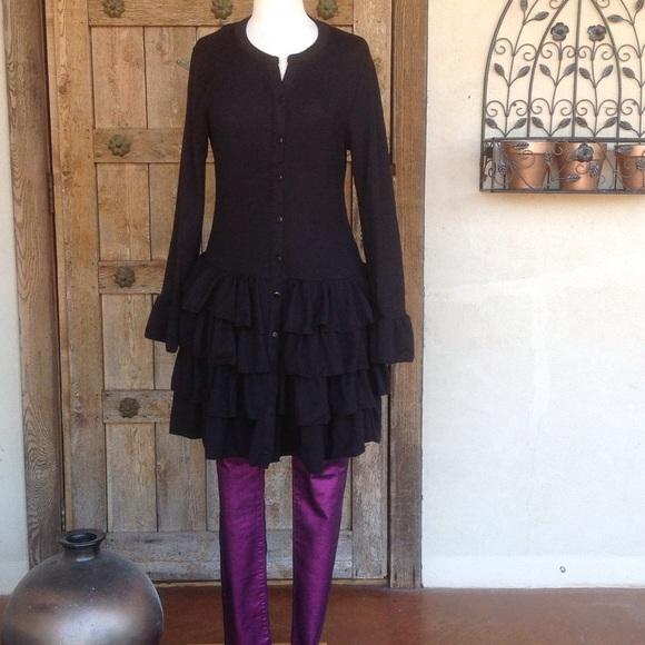 ef1eef45356 Black 4-Tiered Ruffled Tunic Dress Cardigan YOU!! NWT. Reborn by Zulily