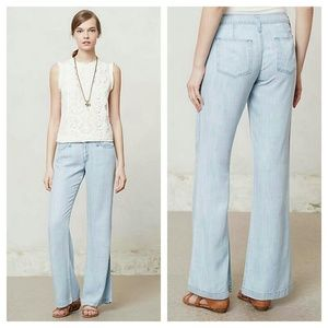 {anthro} chambray cloth & stone wide leg pants