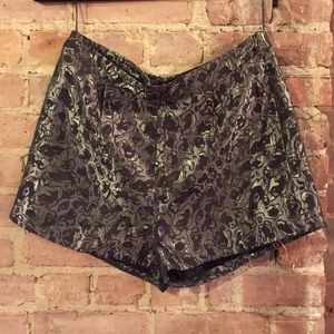 Cute metallic brocade high waisted shorts
