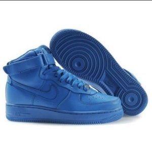 b82b08a374573 Nike Shoes   Rare Denim Blue Air Force Ones   Poshmark