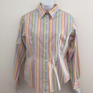 Thomas Pink Tops - Thomas Pink Button Down Striped Shirt Size 10