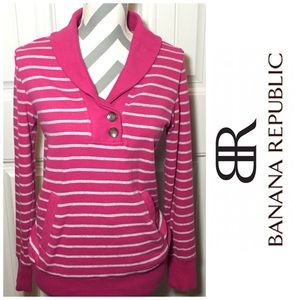Banana Republic Soft Pullover- Pink and White