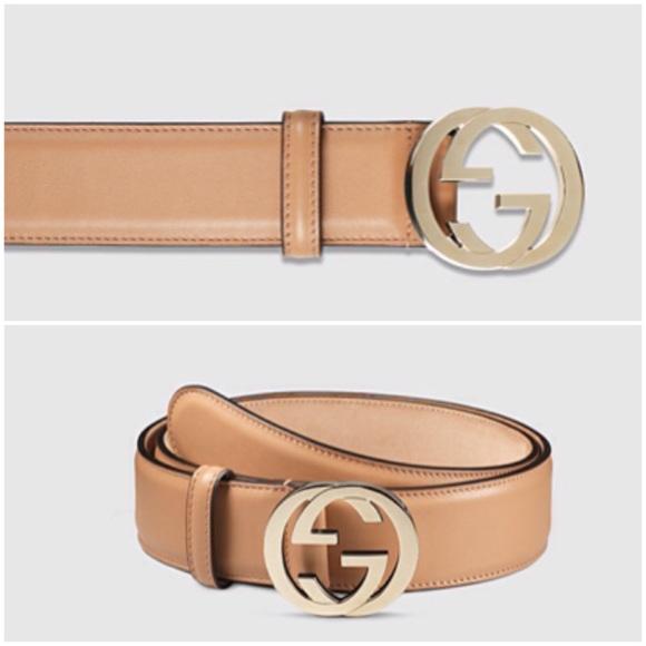 f98f01fb0 Gucci Accessories   Belt Gg Interlocking Gold Tan Beige Buckle ...