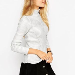 Asos sweater in silver foil in directional rib